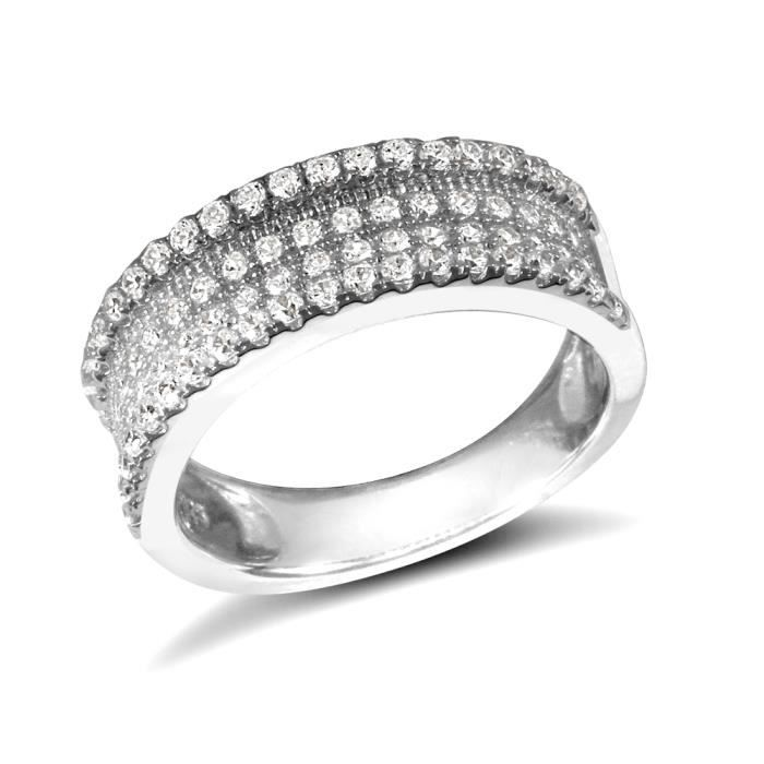 Jewelco London Dames Argent sterling blanczircone cubiquegrappe bague