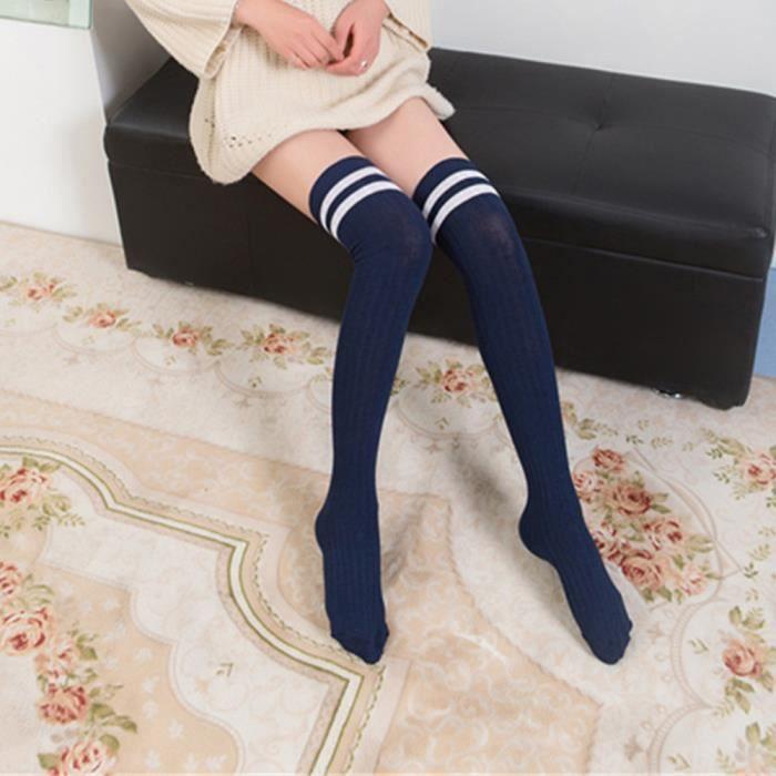 Bleu Femme /à Rayures Chaussettes Cuisse Hautes Au Dessus Du Genoux Sport Chaussettes Longues Blanc