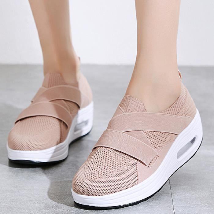 Femme Loisirs Plateforme Caché Talon Compensé Chaussures Slip sur Baskets Sports