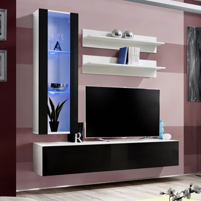 Paris prix meuble tv mural design fly ii 170cm noir for Meuble tv 110 cm fly