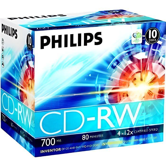 CD - DVD VIERGE Philips CW7D2NJ10 - 10 x CD-RW - 700 Mo ( 80 min …