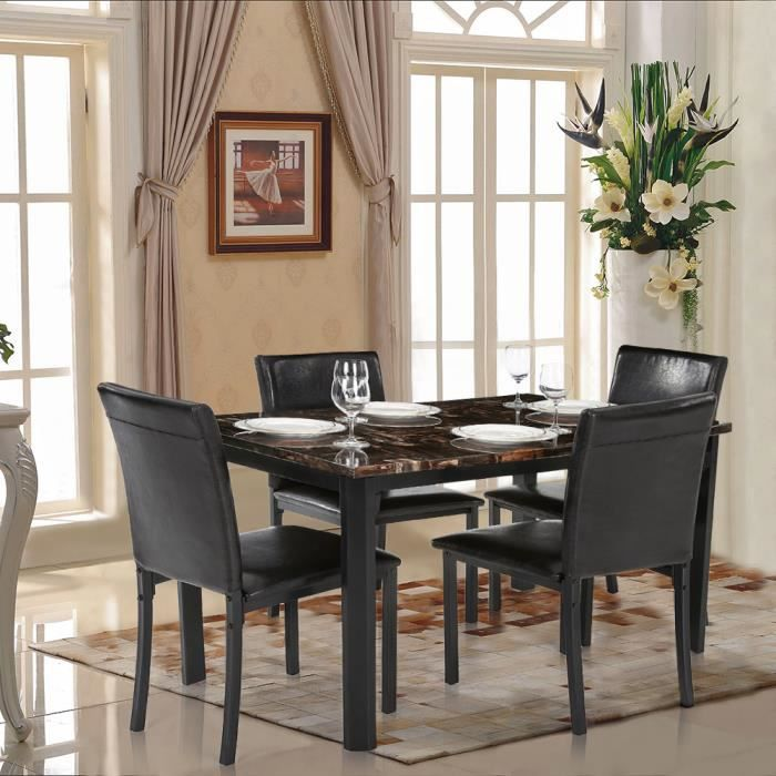ikayaa 5pcs set table chaise en marbre cuisine salle manger pour 4 personnes achat vente. Black Bedroom Furniture Sets. Home Design Ideas