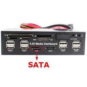 LECTEUR DE CARTE EXT. Lecteur Média facade-PC-5.25pouces (USB 2.0-Sata)