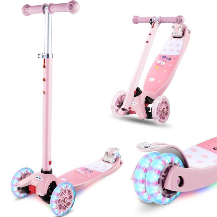 Trottinette Enfant 4 Roues lumieuse ABEC-7 pour Enfants 3-12 Ans Scooter Portable Pliable Poignées Ajustable Jusqu'à 50kg -ROSE
