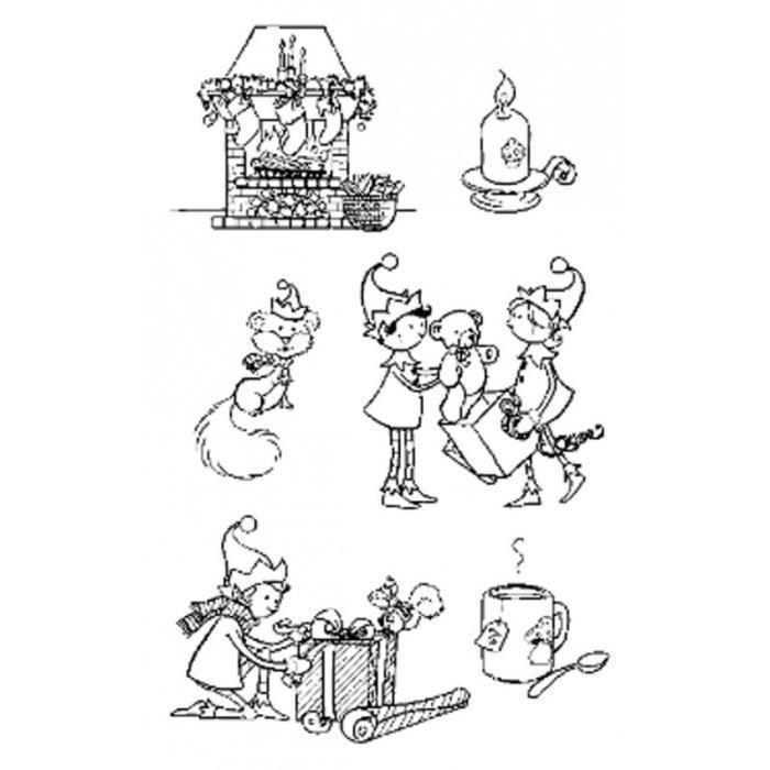 """Set de tampons transparents """"Lutins Cadeaux"""" d'Artemio"""