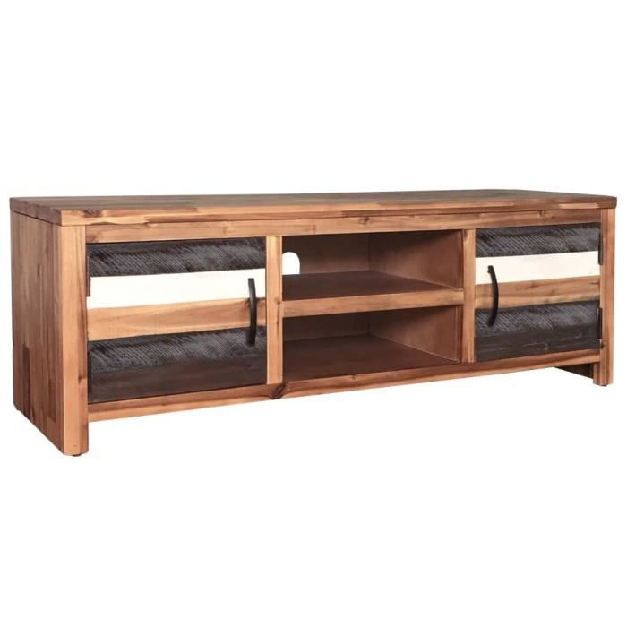 FIHERO Meuble TV bois massif d'acacia 120 x 35 x 40 cm☻☺1