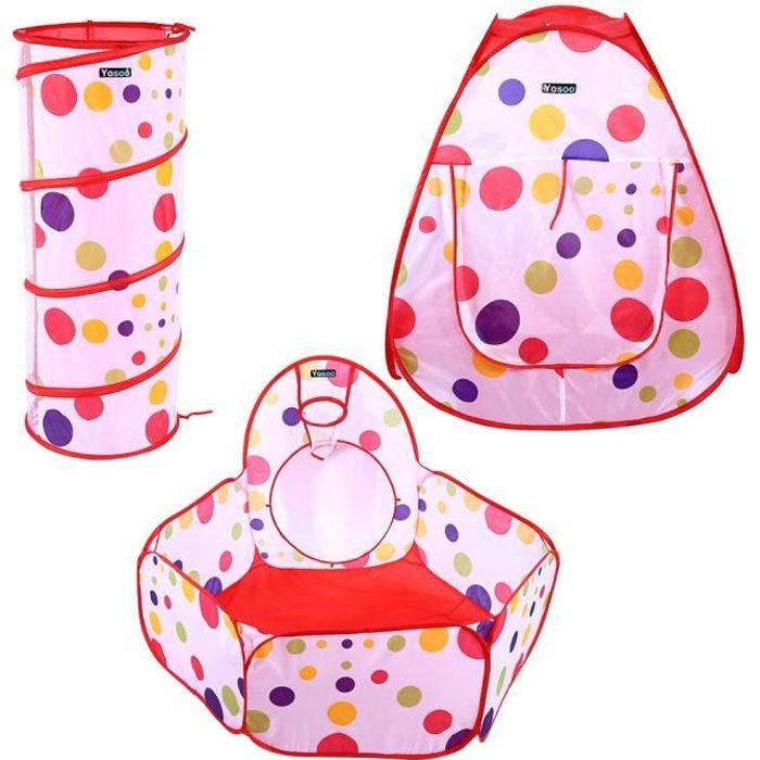 Tente Tunnel pour Enfant 3 en 1 Tente de Jeu Pliable Intérieur et Extérieur, Tent + Jeu Tunnel + Piscine à Balles, pour Bebe Enfa