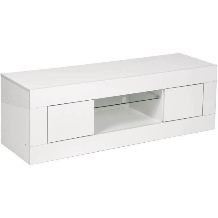 Meuble TV LED -Shelby- laqué - Blanc