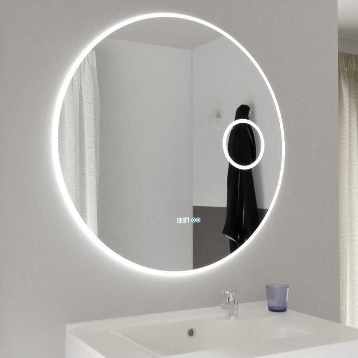 Miroir RONDINARA Ø 80cm - éclairage LED, système anti-buée, horloge et loupe