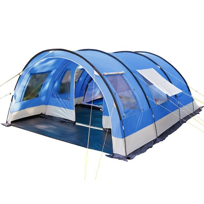 skandika Helsinki - Tente de camping familiale tunnel - 525 x 410 cm - 6 personnes -bleu foncé