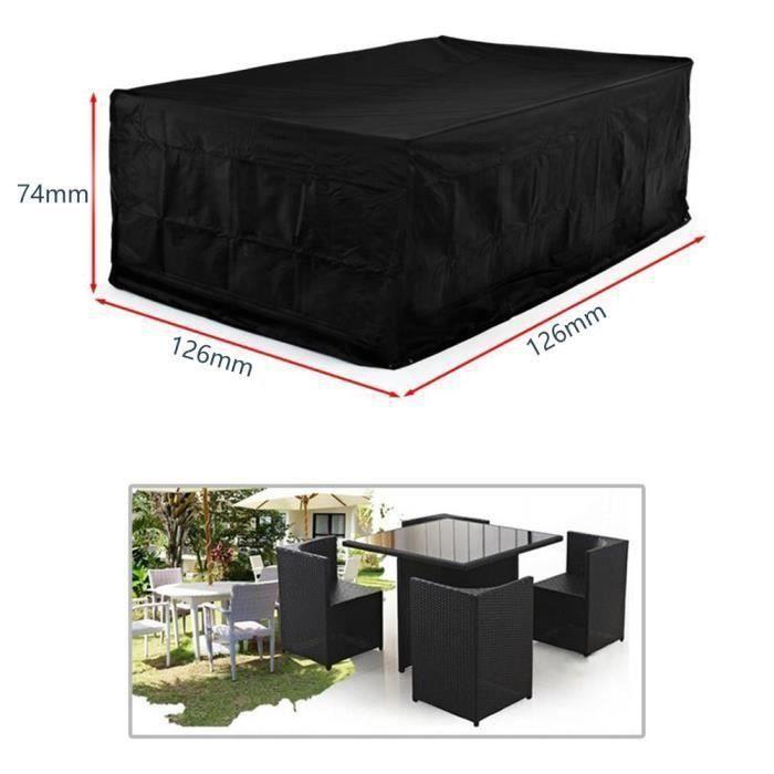 Housse de protection large pour salon de jardin carré 4 places. Bache de protection, salon de jardin(126*126*74cm).