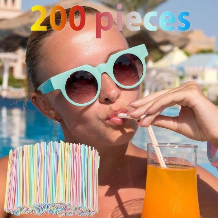 Pailles jetables en plastique - Jetables Pailles Flexibles en Pailles Rayures multicolores - Idéales pour les fêtes à boire 400PCS