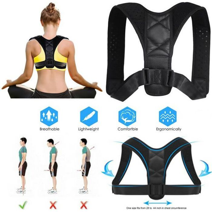 Kabalo Correcteur de posture ajustable pour le dos et les épaules. Ceinture de soutien de colonne vertébrale lombaire
