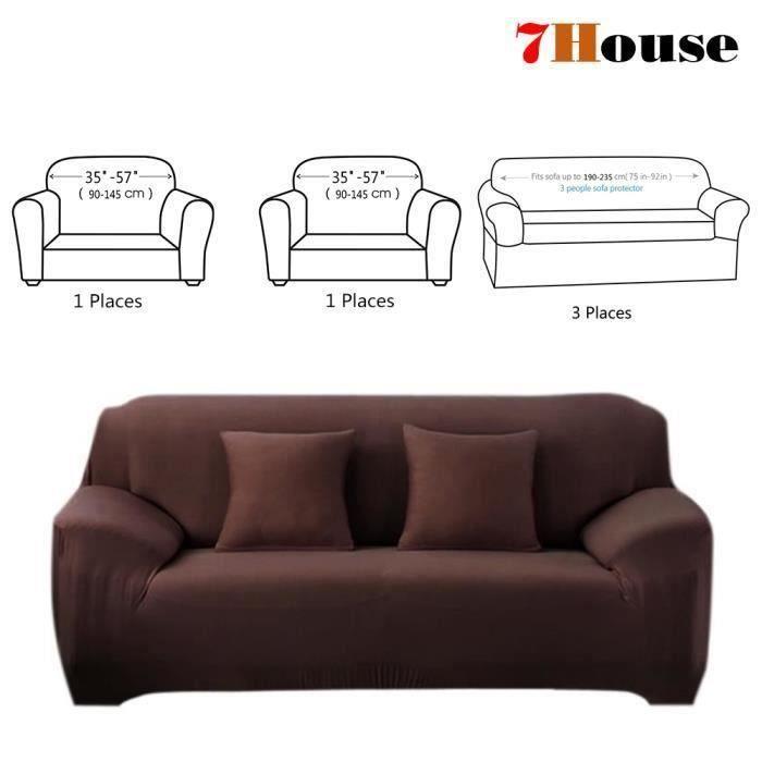 7House® 3 Pièces Housse de Canapé Extensible, revêtement de fauteuil Salon Décor 3Places+1Place+1 Place, Marron