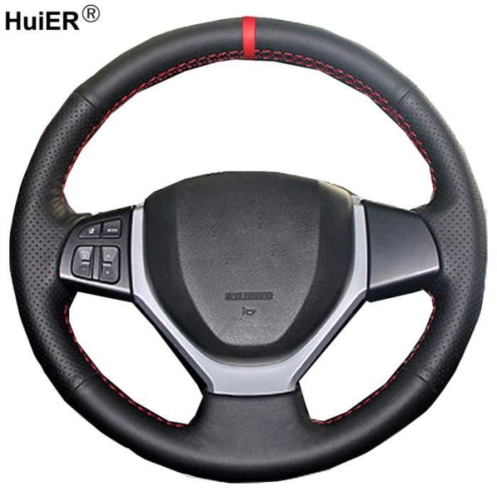 HuiER – housse de volant de voiture, pour Suzuki Swift 2011 – 2017 Vitara 2015 2019 Celerio 2015 2019 Dark Brown Thread