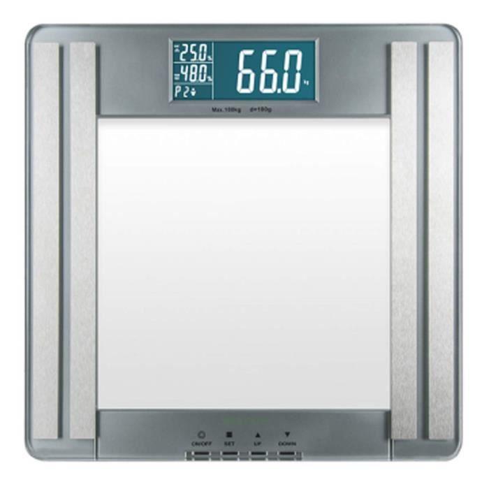 Medisana PSM Pèse-personne avec analyse corporelle en verre - poids, graisse corporelle, eau corporelle, masse musculaire, taux m