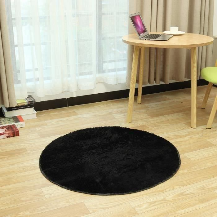 Tapis de Sol Couverture Ronde Anti-dérapant Shaggy Tapis Accueil Salon Chambre Tapis Yoga Noir