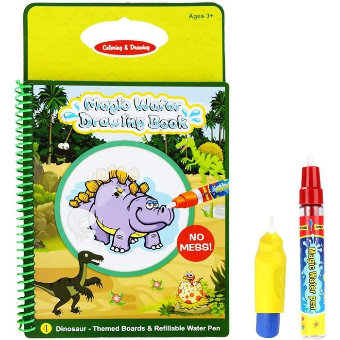 ARDOISE MAGIQUE Rangebow Doodle Book Dinosaur Magic Water Aqua Reusable Drawing and Magic Pen for 3 Years plus Toys Gift (Dinosa641
