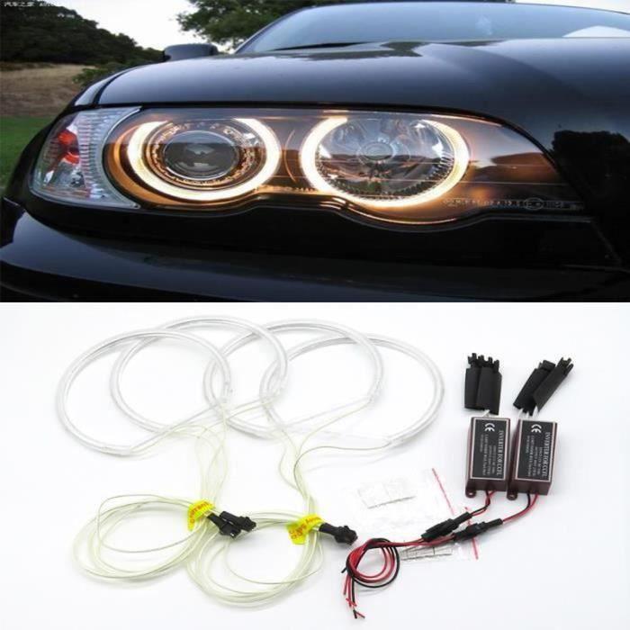 NX17793-4pcs E46 3W LED CCFL phares de voiture 131mm Angel Eyes Halo Anneau Lumières