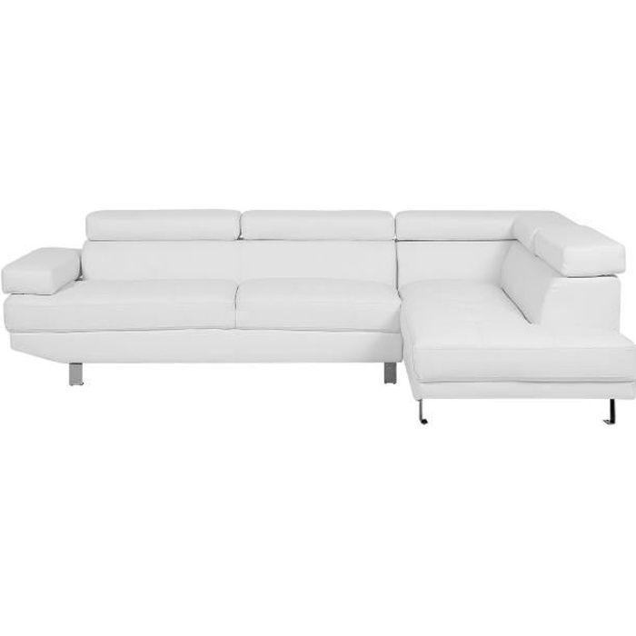 Beliani - Canapé d'angle en simili-cuir blanc NORREA