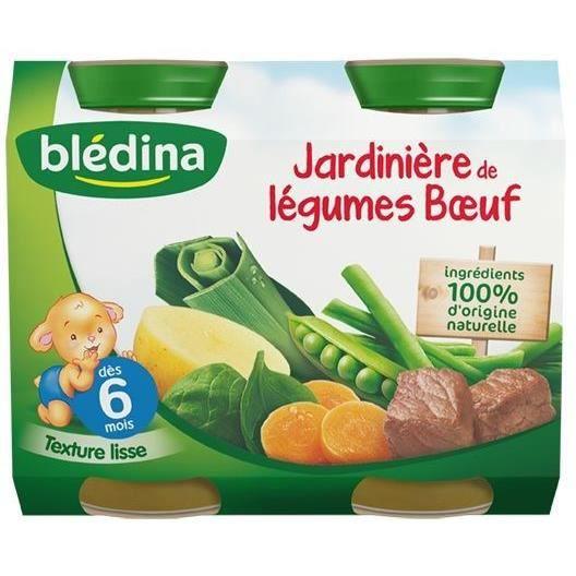 BLEDINA Petits pots Purée Jardinière de légumes bœuf - Dès 6 mois- 2x200 g