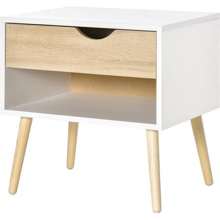 Chevet table de nuit tiroir niche design moderne panneau de particules classe E1 pieds en bois massif - bois de chêne blanc