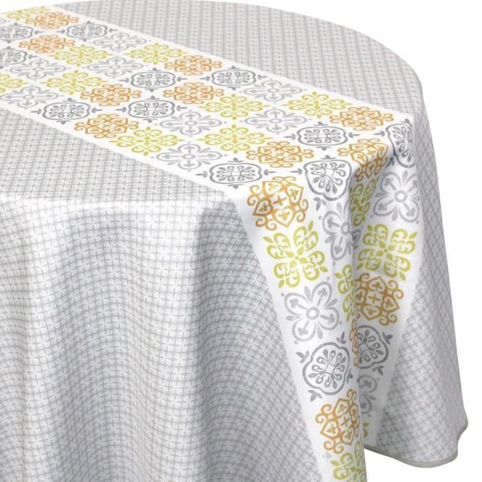 Nappe ovale 180x240 cm imprimée 100% polyester CARO géométrique Multicolore