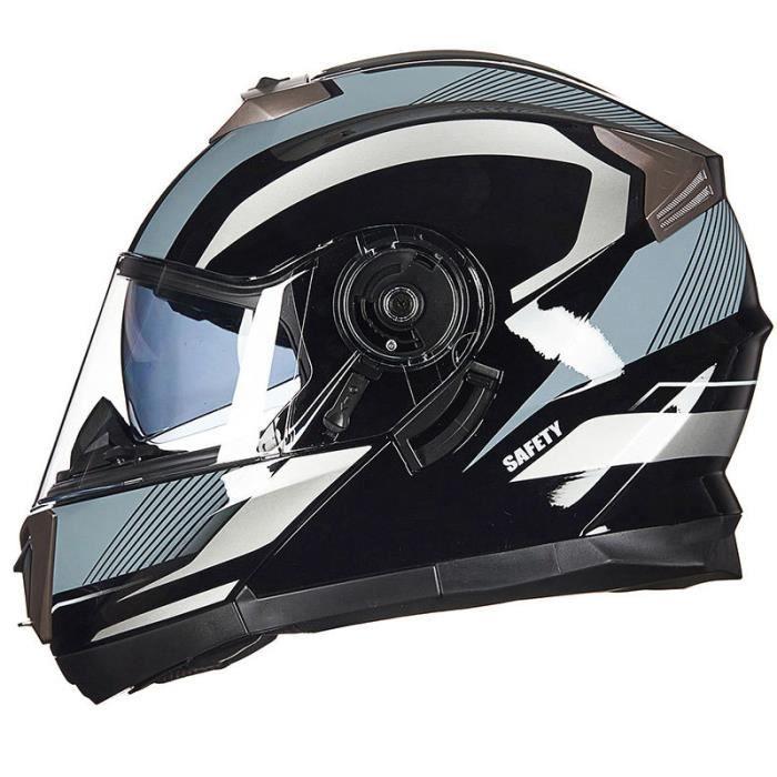 Casque Moto Unisexe de Marque luxe Casque moto Double lentille de anti-poussière casque Moto intégral de la personnalité