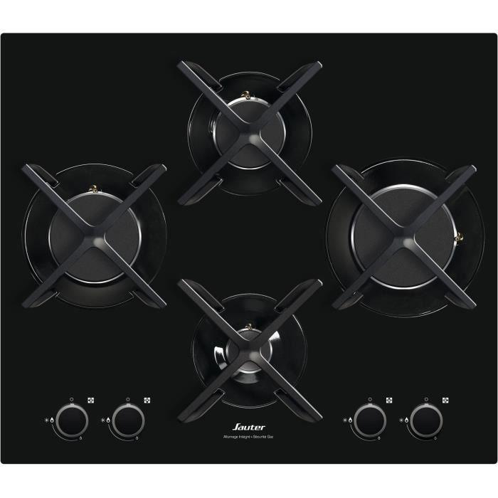 SAUTER SPG4465B Plaque de cuisson gaz - 4 foyers - Largeur : 60 cm - Noir