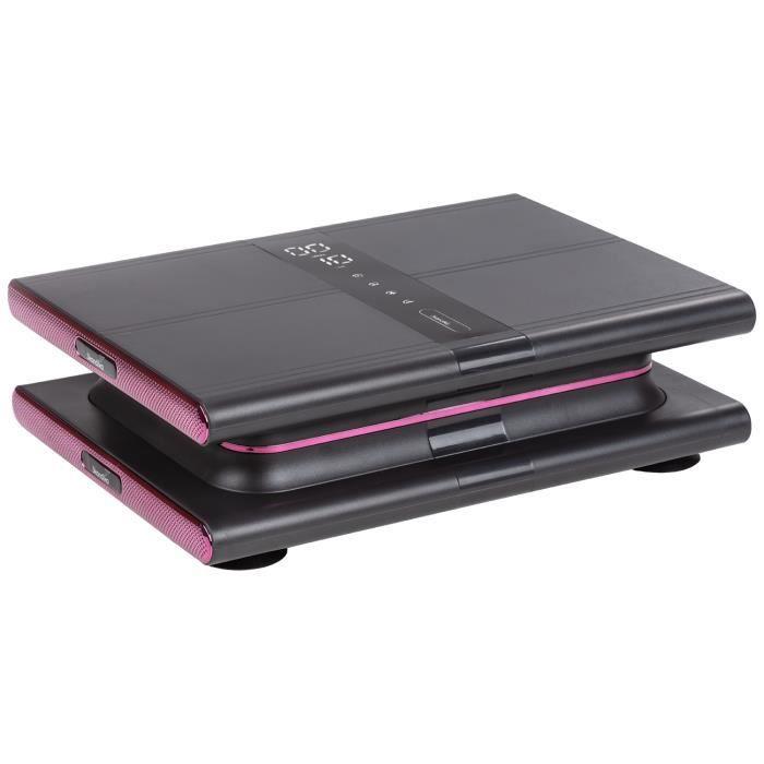 Skandika Sunna - Plateforme vibrante Moderne compacte - jusqu'à 20 Hz - Télécommande - 20 Niveaux - 3 + 1 progr. - Gris/Rose