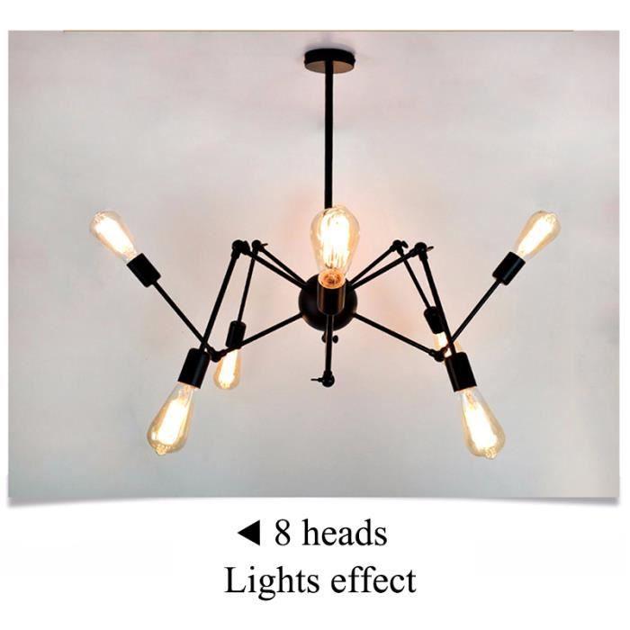 TEMPSA Plafonnier araignée Lustre Vintage LED Lampe Industrielle Noir - 8 Tête Sans ampoule