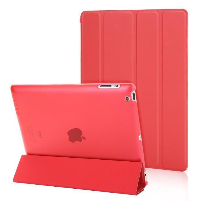 Smart Cover Pour iPad 2-3-4 Housse De Protection Case Etui Coque Couverture Fonction Réveiller Sommeil Rouge