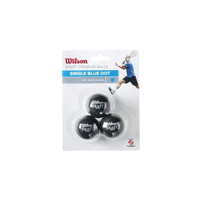 Lot de 3 balles Wilson Staff squash point bleu - noir-bleu - TU