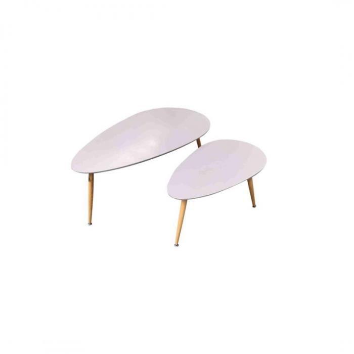 FLY Lot de 2 tables basses Gigognes grises Au Style Scandinave