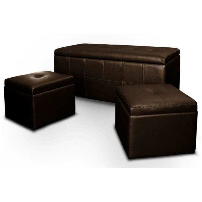 banquette coffre 2 poufs pu marron fonc capitonn banco achat vente banquette cuir pu. Black Bedroom Furniture Sets. Home Design Ideas