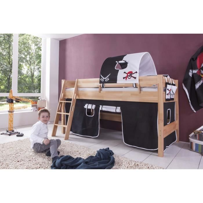 lit mi hauteur enfant coloris h tre d co pirates achat. Black Bedroom Furniture Sets. Home Design Ideas