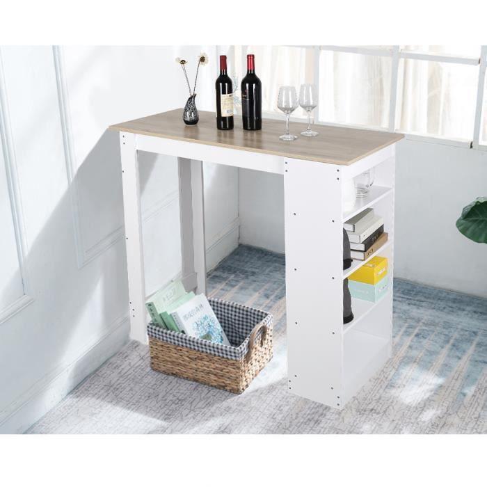 Table Haute de Bar Mange-debout Cuisine avec rangements - Décor chêne et blanc - Achat / Vente ...