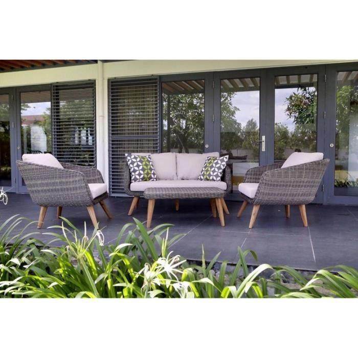 Table basse jardin ronde en resine tressee