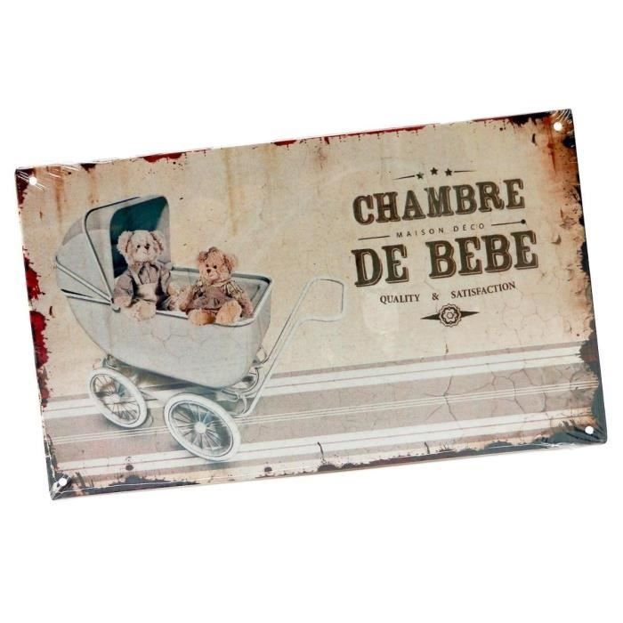 Plaque de porte fixer chambre de b b en m tal for Decoration porte chambre bebe