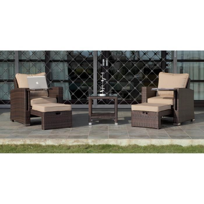 salon de jardin vanila 10 avec repose pieds c beig achat vente salon de jardin salon de. Black Bedroom Furniture Sets. Home Design Ideas