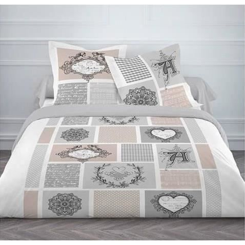 today housse de couette flanelle love post card achat vente housse de couette cdiscount. Black Bedroom Furniture Sets. Home Design Ideas