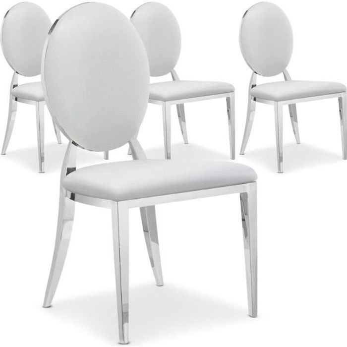 Lot De 4 Chaises Medaillon Sofia Blanc