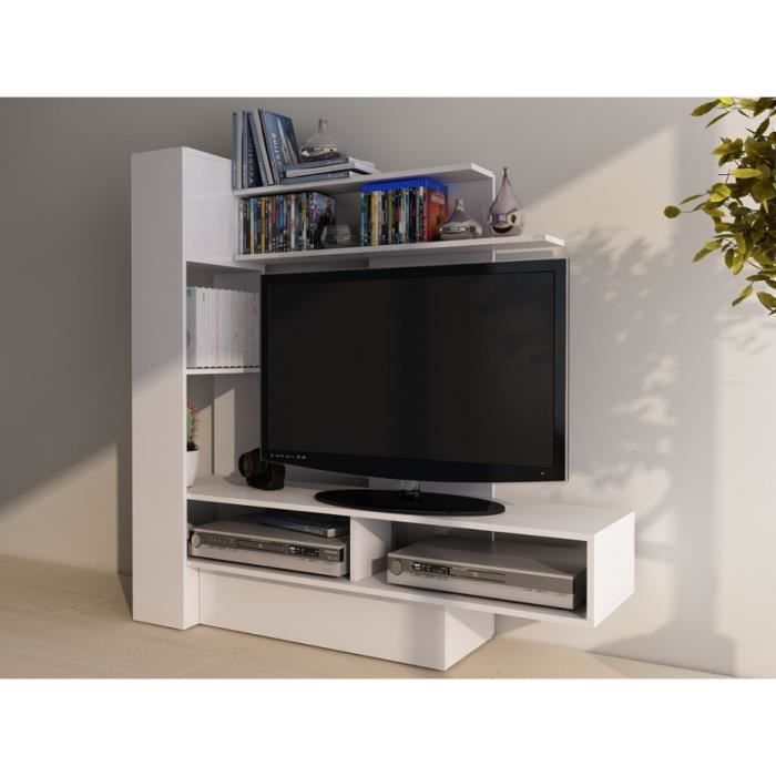 mur tv kabello avec rangements blanc achat vente meuble tv mur tv kabello avec rangeme. Black Bedroom Furniture Sets. Home Design Ideas