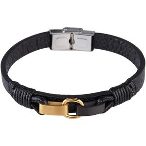 BRACELET - GOURMETTE LOUIS VILLIERS Bracelet Cuir LVW18092B Noir et Dor