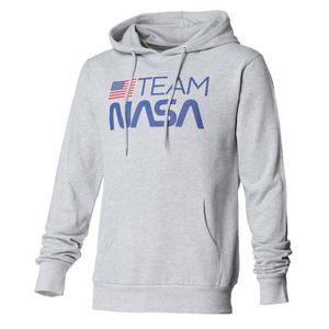 SWEATSHIRT ISA Sweat à Capuche Motif NASA Gris Chiné Homme