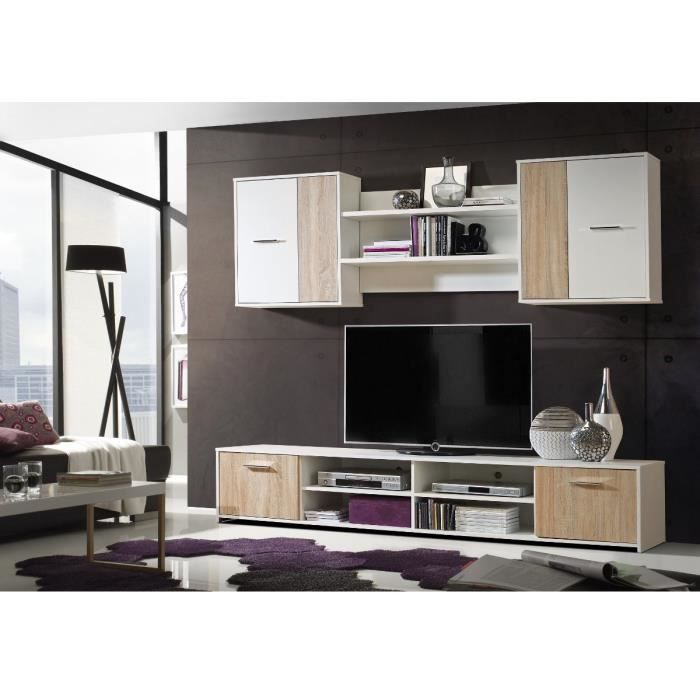 jam meuble tv mural 210cm d cor ch ne sonoma et blanc achat vente meuble tv jam ensemble tv. Black Bedroom Furniture Sets. Home Design Ideas
