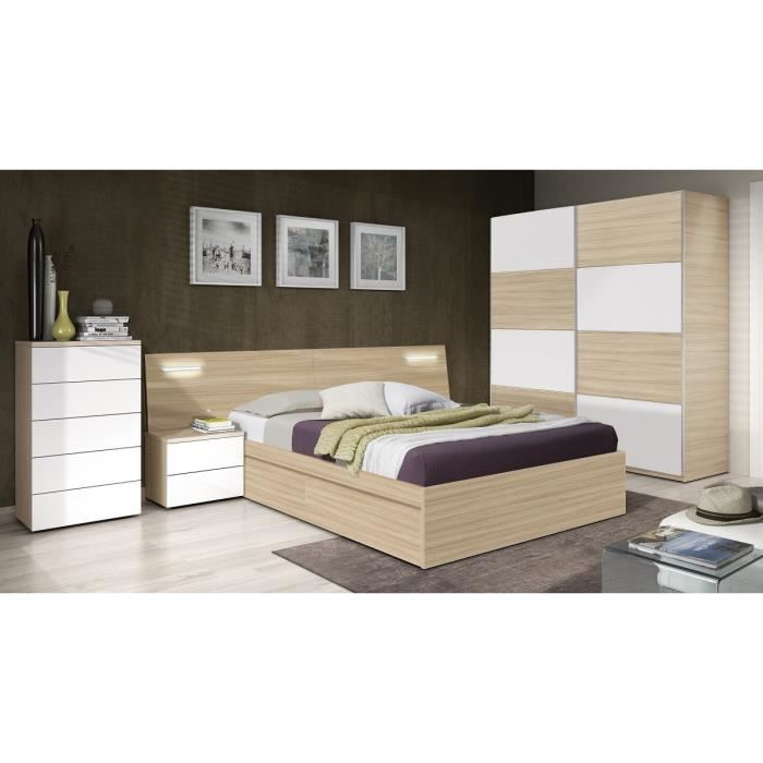 silvia t te de lit style contemporain m lamin blanc brillant et d cor bois avec led 2 chevets. Black Bedroom Furniture Sets. Home Design Ideas
