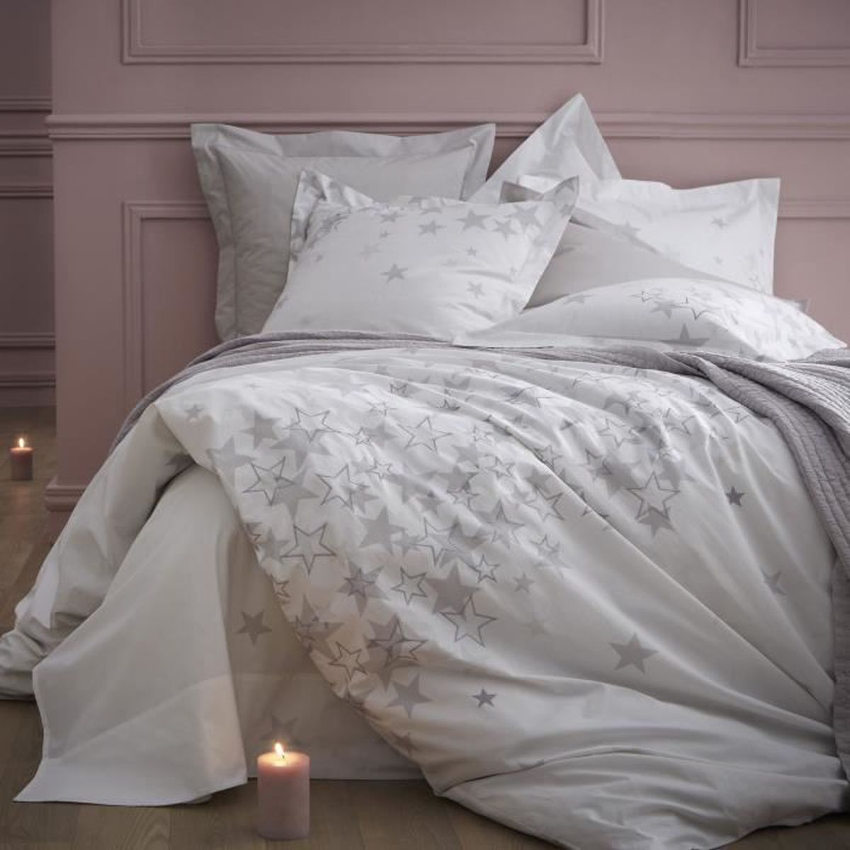 housse de couette 100 percale de coton broderie toile. Black Bedroom Furniture Sets. Home Design Ideas