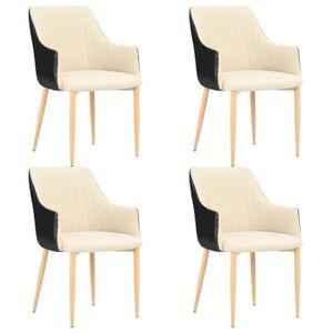 fauteuil rétro à crème PU chaises salle manger 4 Lot de de nP80wOk