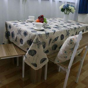 NAPPE DE TABLE Nappe Rectangle en Coton et Lin Motif Coquille de